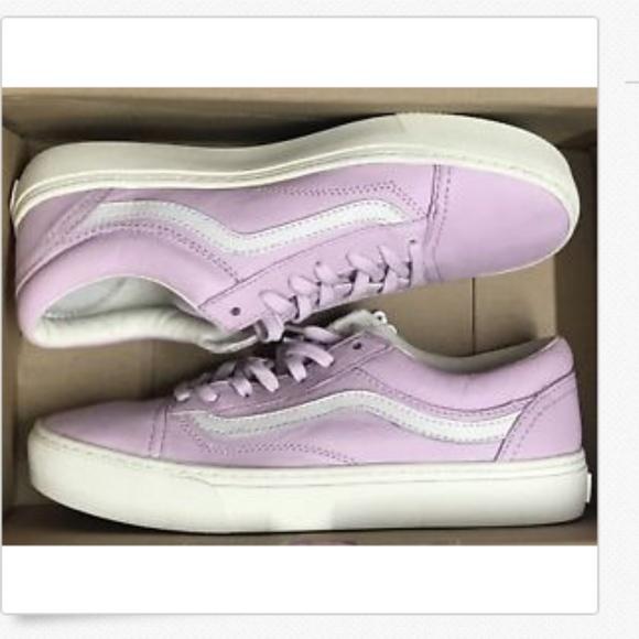 Vans Womens Leather Old Skool Cup Shoes Light PurpleWhite